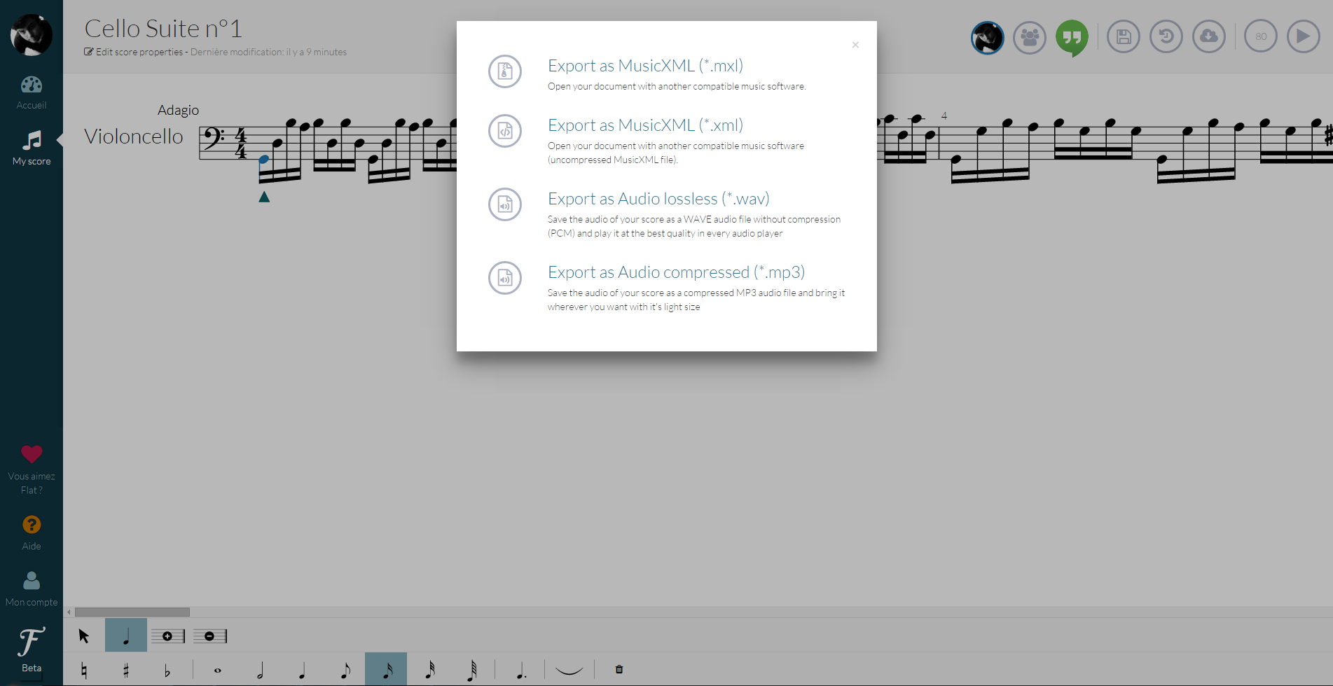 Export scores to WAV and MP3 preview