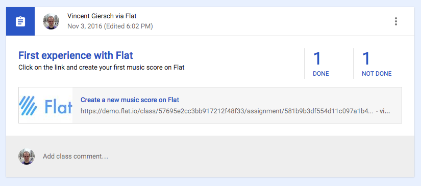 Music notation assignment on Google Classroom