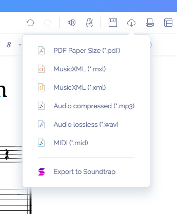 Export sheet music in Soundtrap