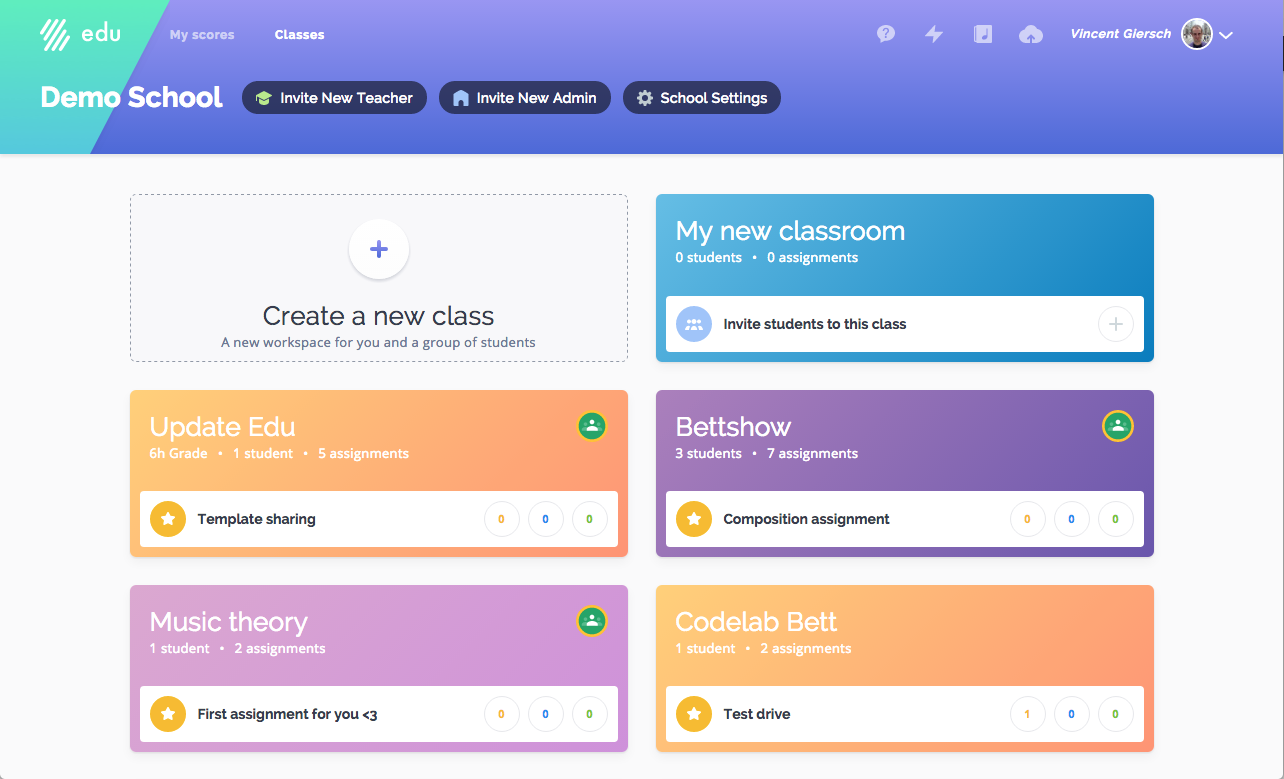 New classes dashboard