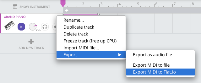 Export from Soundtrap to Flat