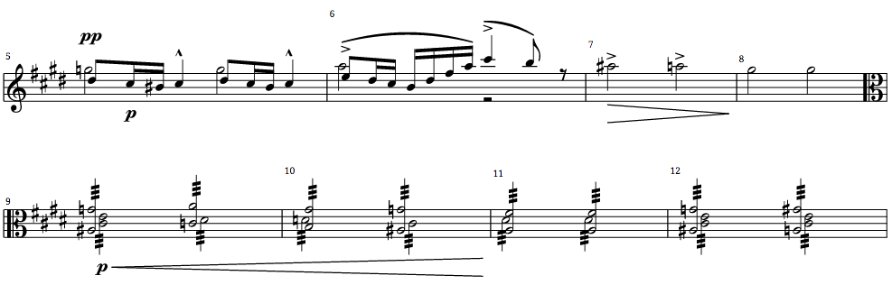 Some edited measures of the Tannhäuser Overture from Richard Wagner