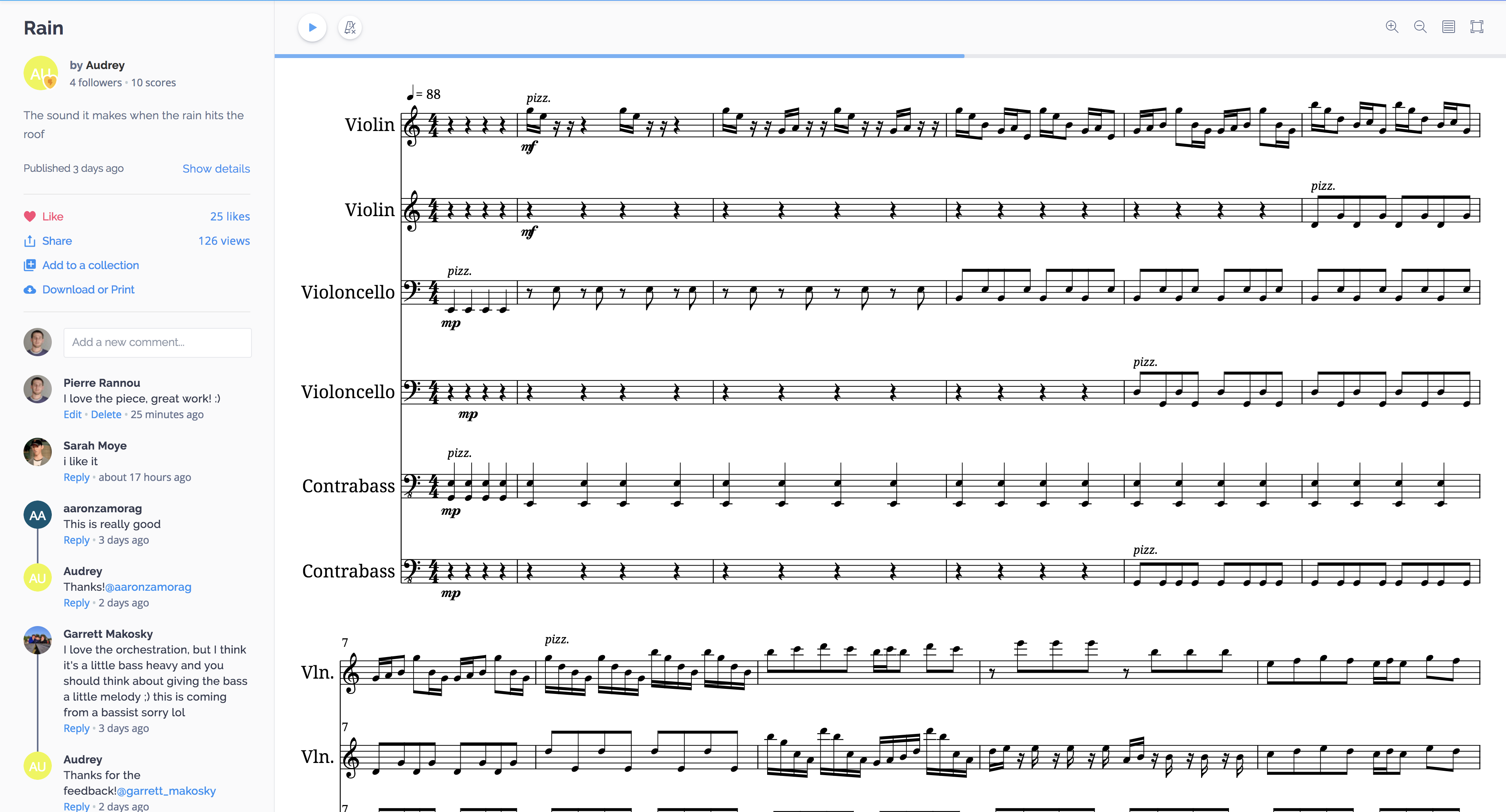 Flat's new sheet music viewer