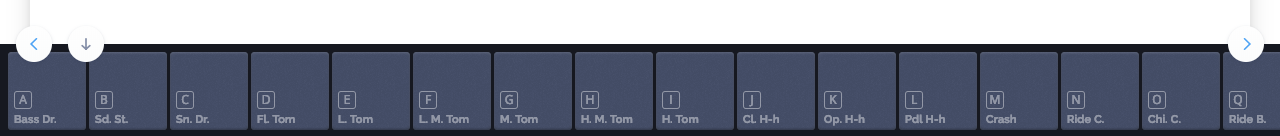 Keyboard shortcuts displayed on the visual drum pads