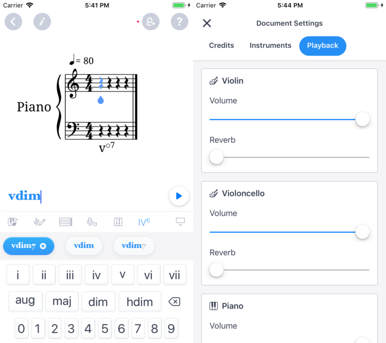 iOS app: Roman chords support and document settings