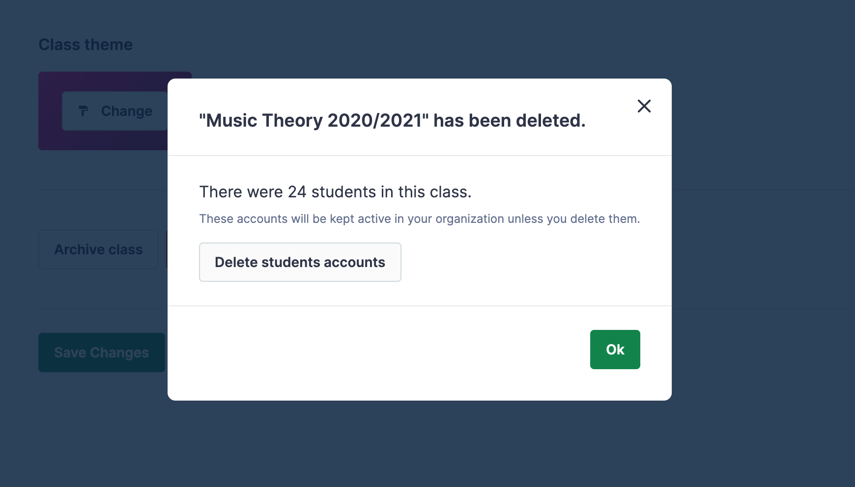 New dialog displayed once the class has been removed: There were 24 students in this class. These accounts will be kept active in your organization unless you delete them.
