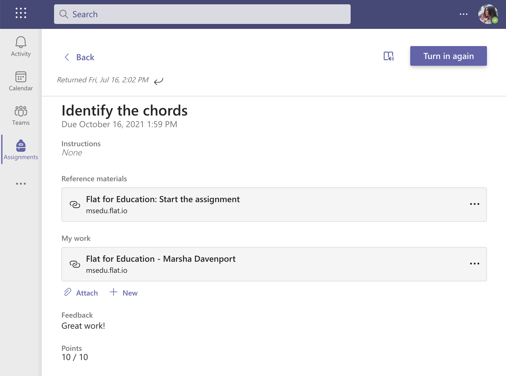 A student submission on Microsoft Teams with graded and links synced by Flat for Education
