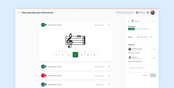 Generate auto-graded music theory worksheets